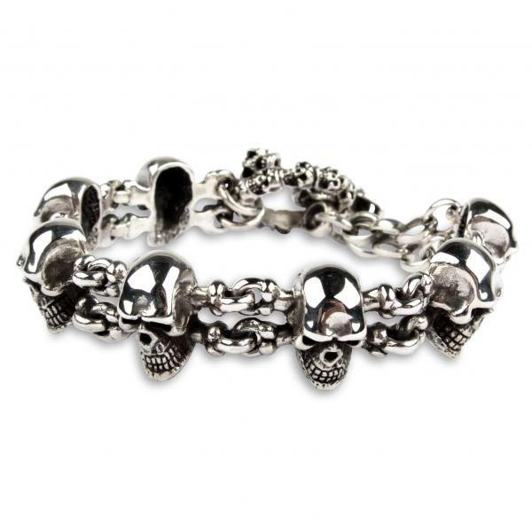 "Totenkopf Biker-Armband ""Small Skulls and Bones"""