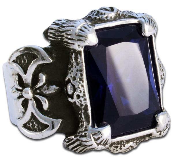 Mächtiger Drachenklauen-Ring - Blau