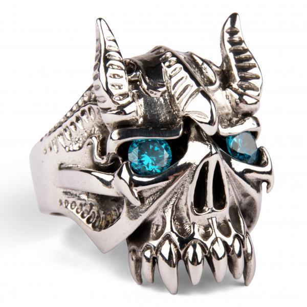 Blauer Teufel - gehörnter Silberring