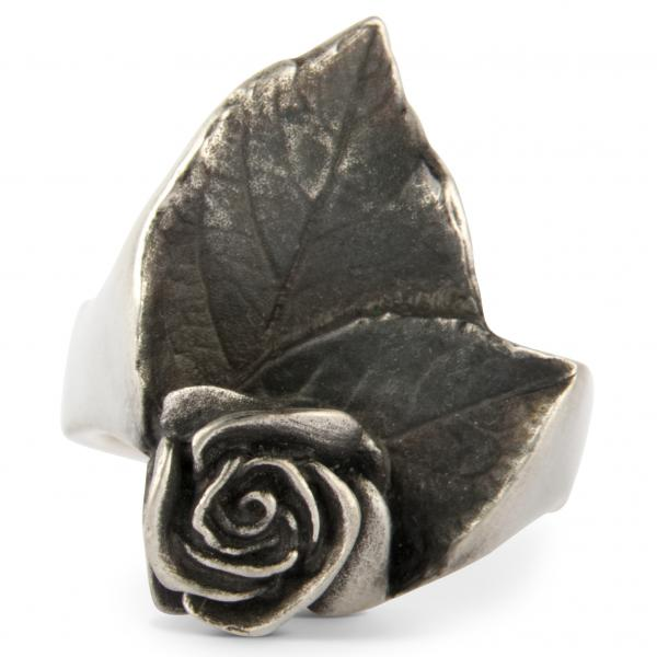 "Rosen Ring ""Simone"" mit Blättern"