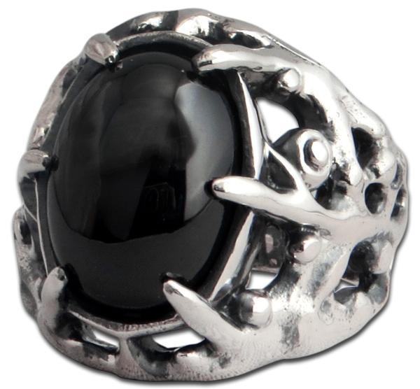 Großer Ranken-Ring mit schwarzem Onyx