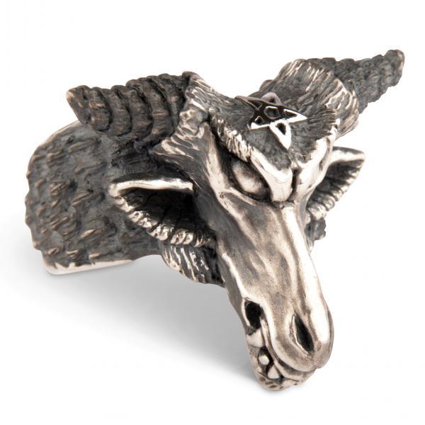 Baphomet - Gehörnter Dämonen Ring aus massivem Silber