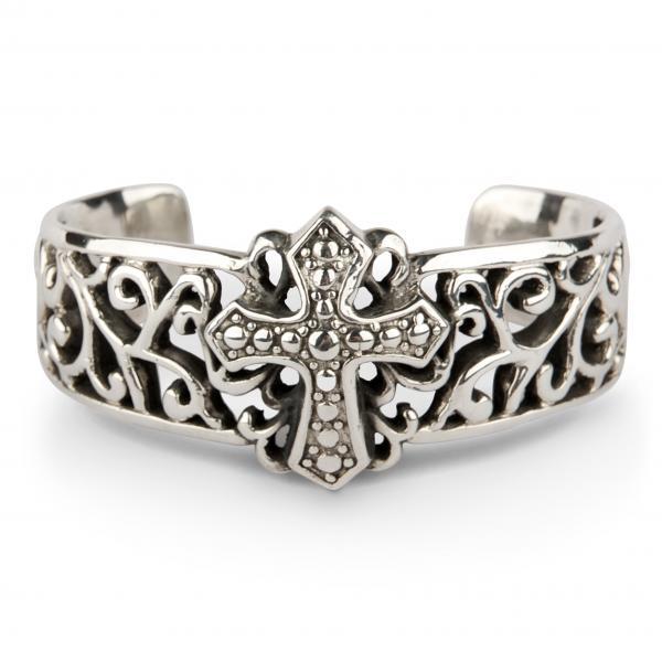 Gothic Silber-Armreif mit Kreuz und Ranken
