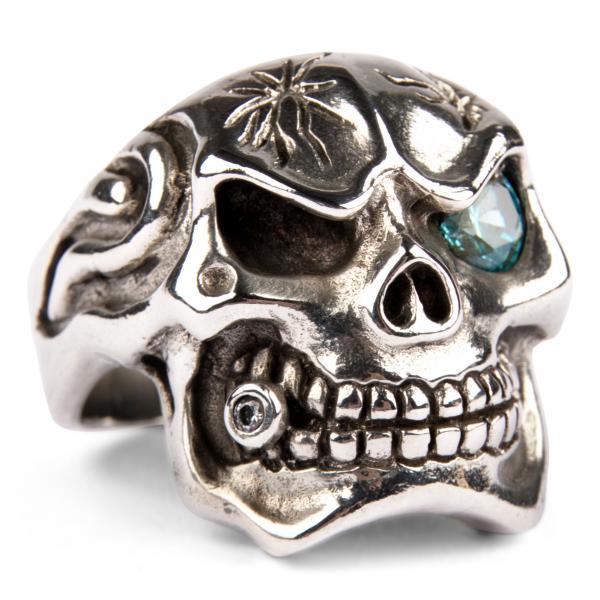 Großer Mafia Totenkopf Ring mit Zirkonia - Saphir