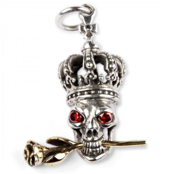 Skelettkönig Kettenanhänger aus Silber und Messing