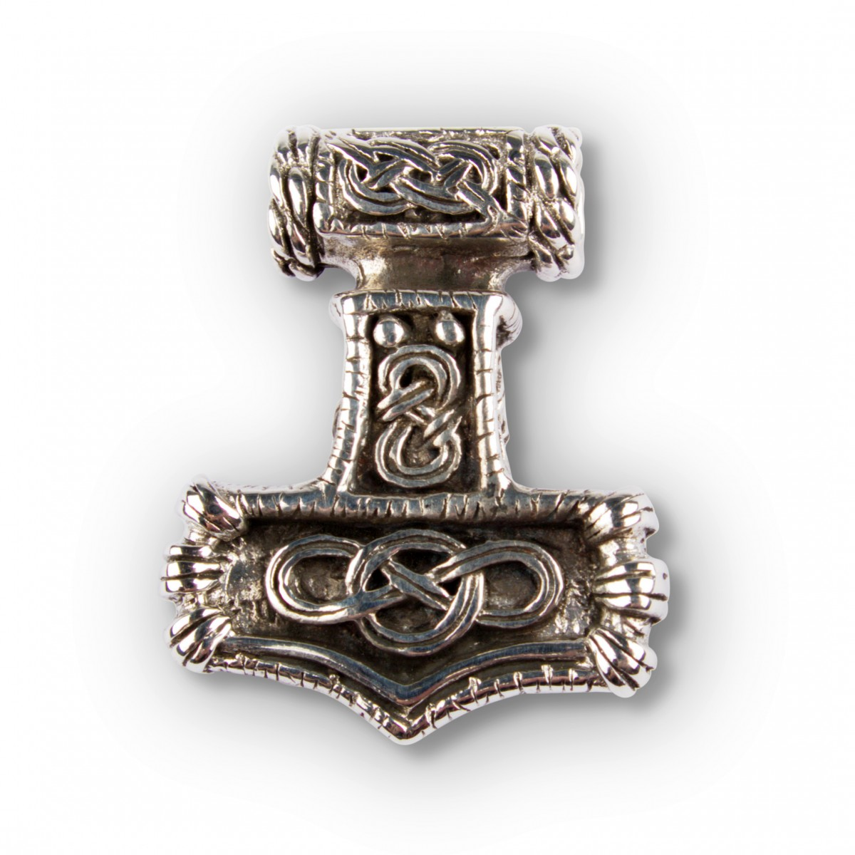 solid thors hammer silver pendant handmade from solid