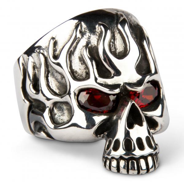 Schwerer Flammender Rubin-Augen Totenkopf Ring