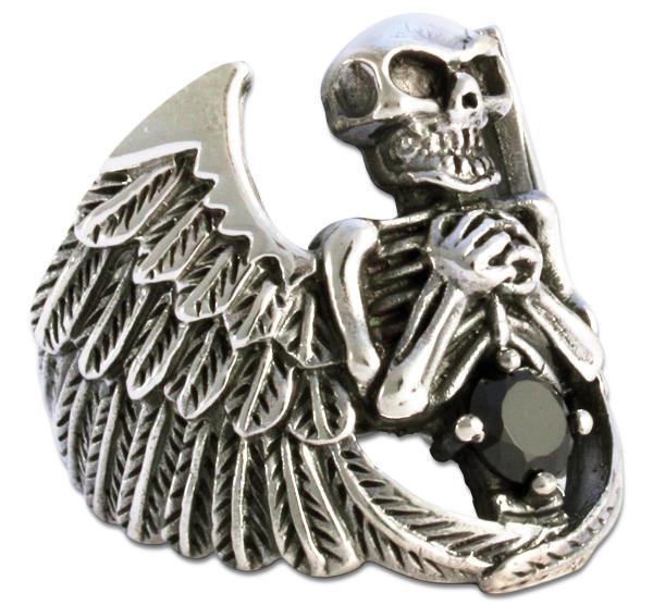 Todesengel - Massiver Biker Ring mit schwarzem Zirkonia