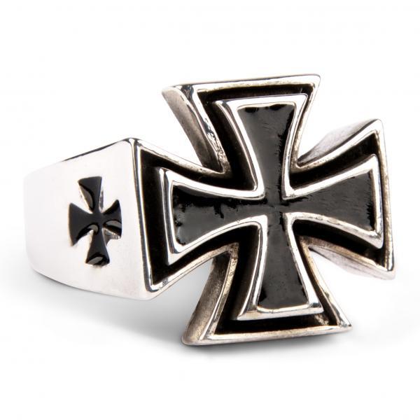 Eisernes Kreuz - Massiver Silberring lackiert