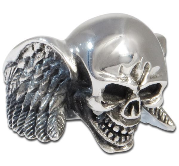 Geflügelter Skull-Ring aus Sterling Silber