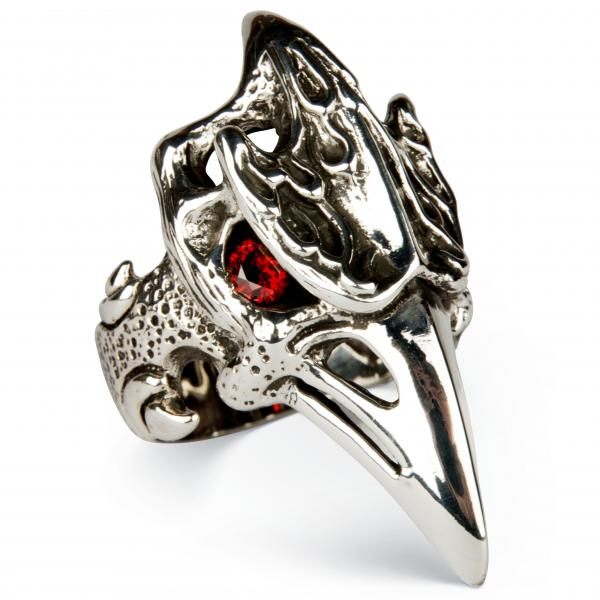 XXL Phoenix Skull Ring With Long Spout