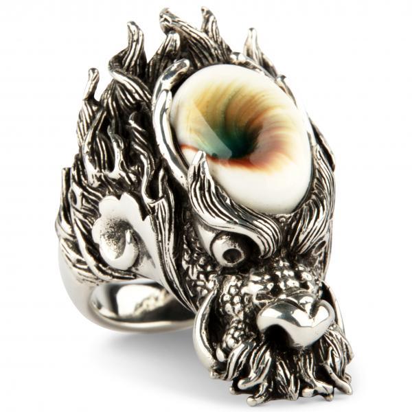 4,5cm langer Shell Dragon - Drachen Ring mit Seelenstein