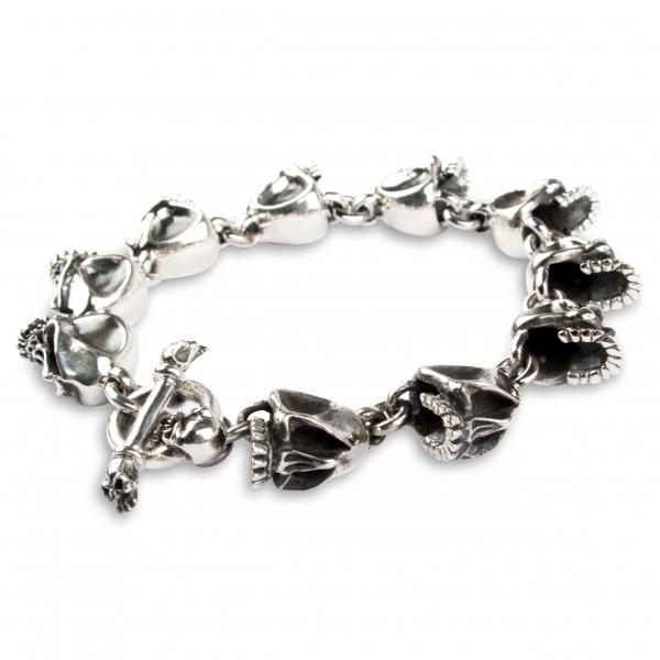 Knorriges Totenkopfarmband aus Sterling Silber