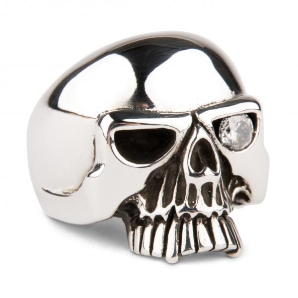Klassischer Totenkopf Ring mit Zirkonia - Diamant