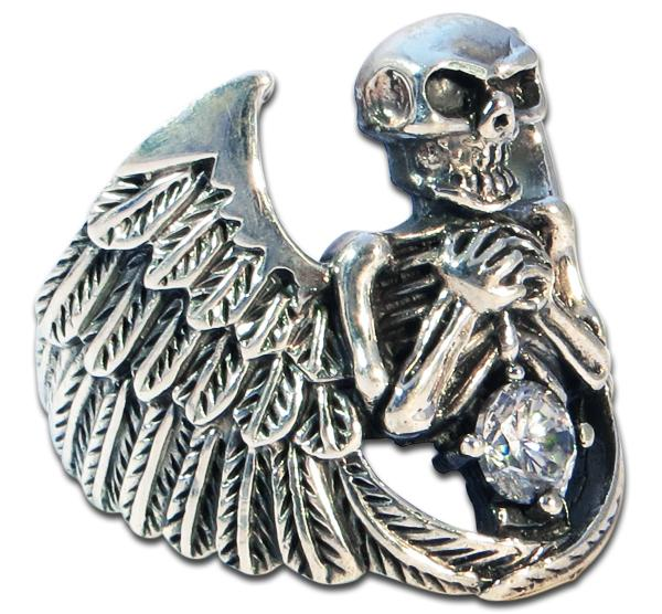 Angel of Death - Solid Skull Ring - White