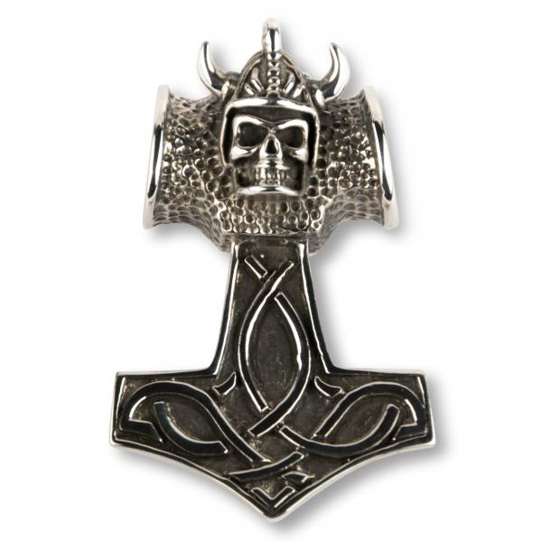 Anhänger Thors Hammer mit Wikinger Totenkopf - kleine Version