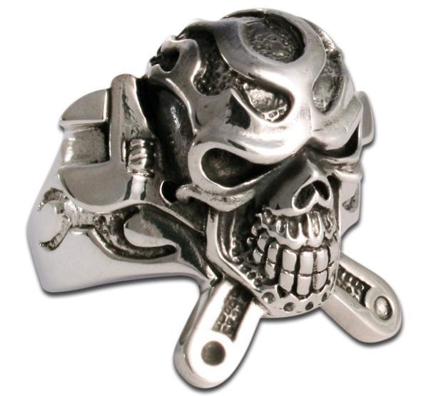 Schrauber-Ring - Totenkopf mit Maulschlüsseln