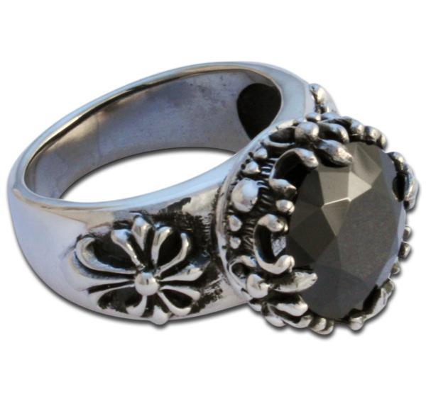 Kristallfürst - schwarzer Fleur de Lis Ring