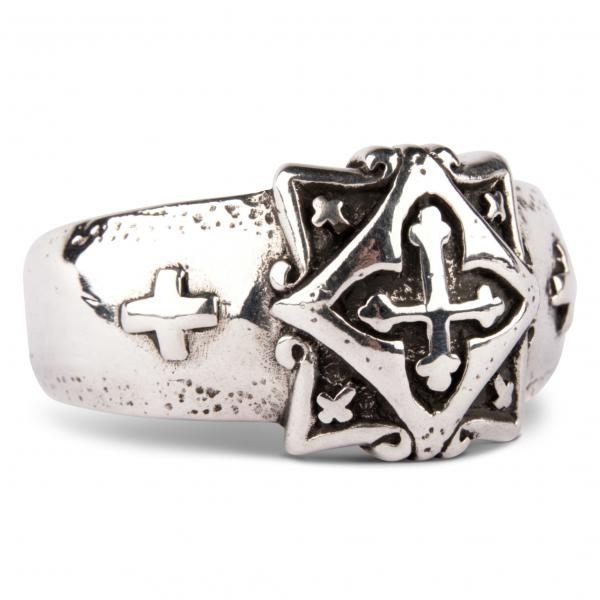 Massiver Silber-Bandring mit Lazaruskreuz