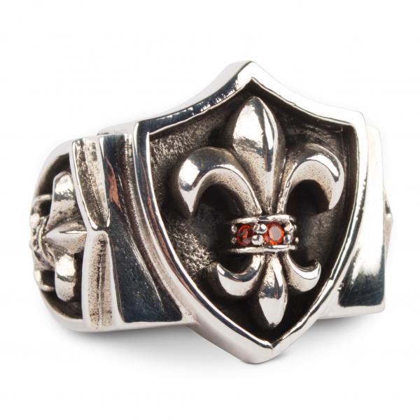 Breiter Fleur-de-Lis Ring mit roten Zirkonia