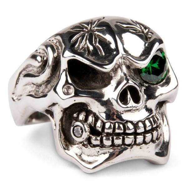 Großer Mafia Totenkopf Ring mit Zirkonia - Smaragd