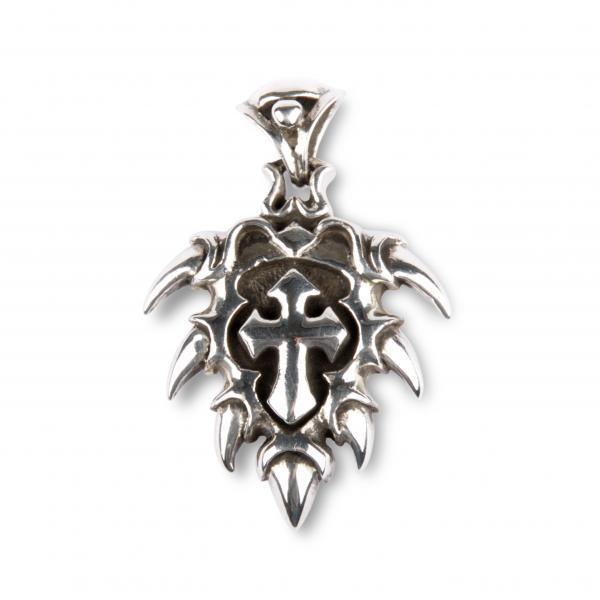 Drachenkrallen Medaillon mit Gothic Kreuz