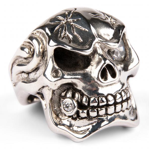 Großer Mafia Totenkopf Ring mit Zirkonia - Diamant