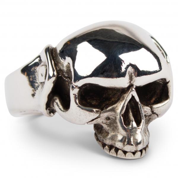 Kleiner Halfskull-Totenkopfring aus Sterling Silber