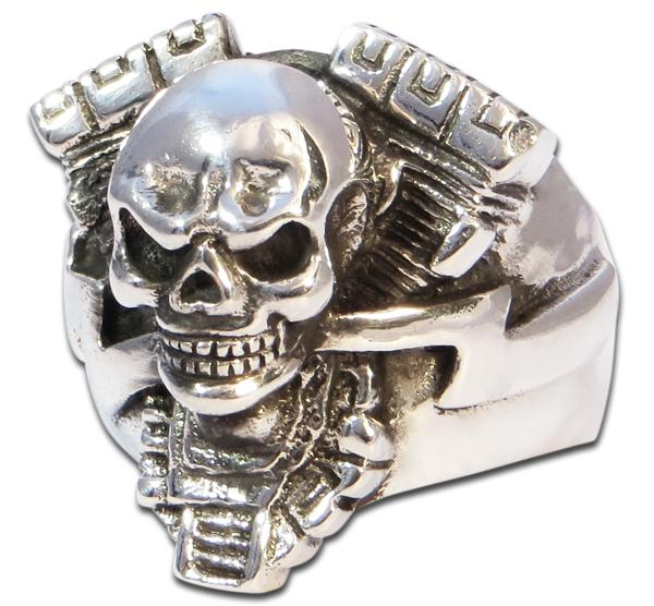 Skull Ring V2 Mean Machine - V-Twin Motor