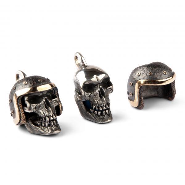 Skull Pendant With Exchangeable Biker Helmet