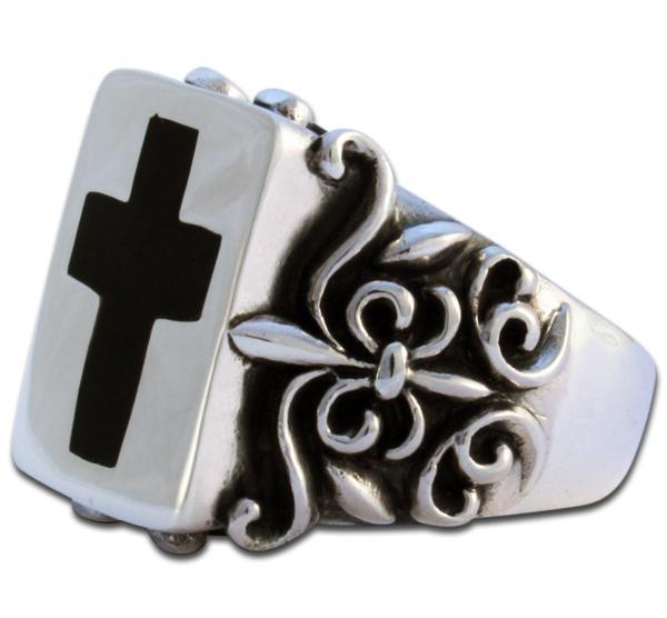 Schwarzes Kreuz Silber-Ring