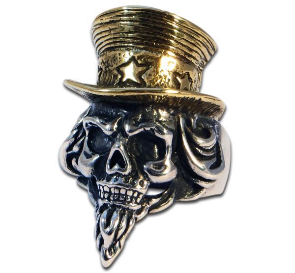 Uncle Sam Totenkopfring mit goldenem Zylinder
