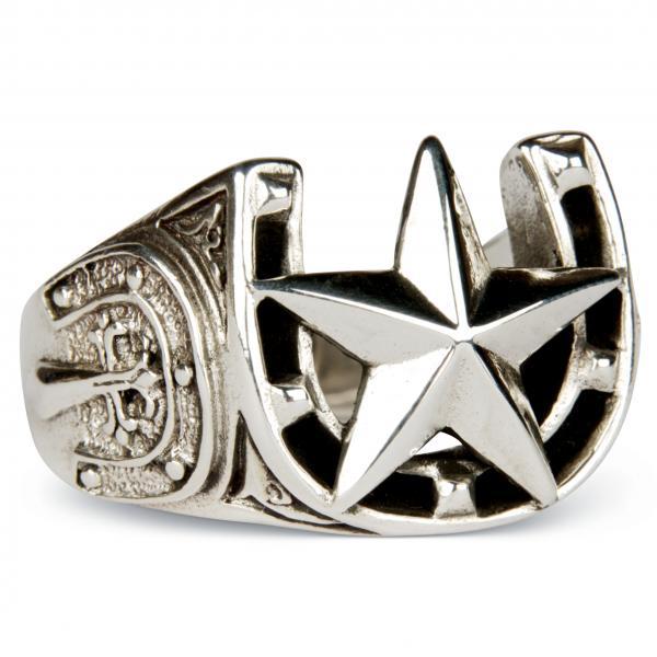 Rockabilly Glücksbringer-Ring mit Hufeisen und nautischem Stern