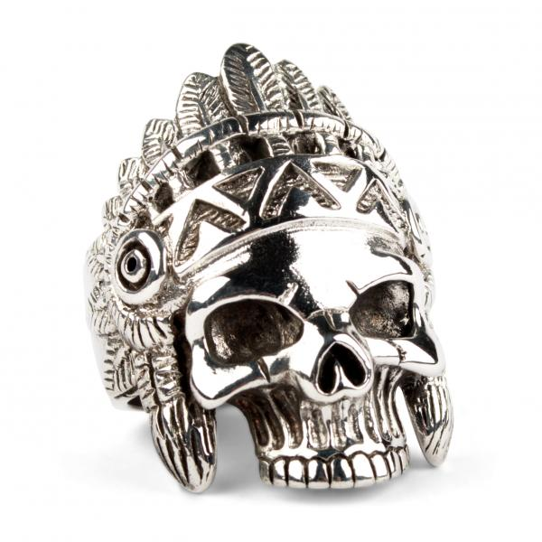 Schädel des Indianerhäuptlings - Biker-Ring