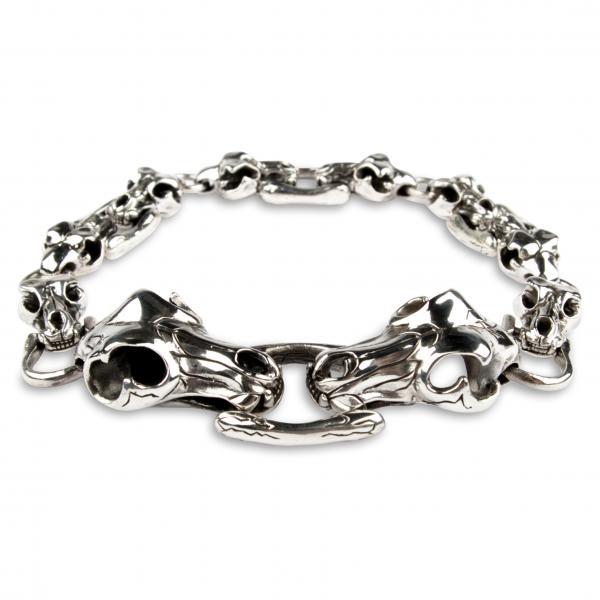 Trophäenjäger - Silberarmband mit vielen Tier-Schädeln