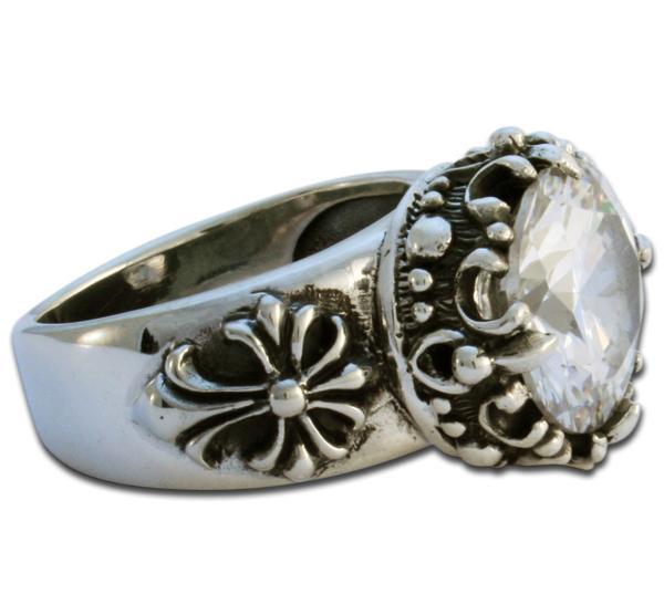 Kristallfürst - weißer Fleur de Lis Ring