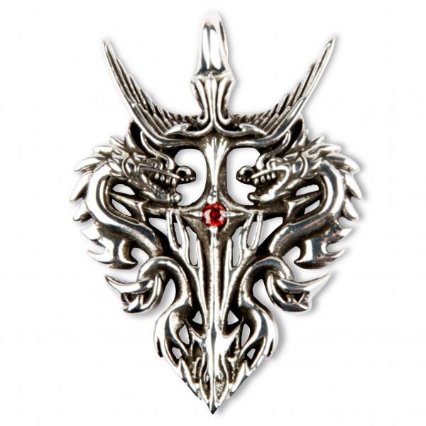 """Anhänger """"Wappen des Drachenmalklans"""" mit rotem Stein"""