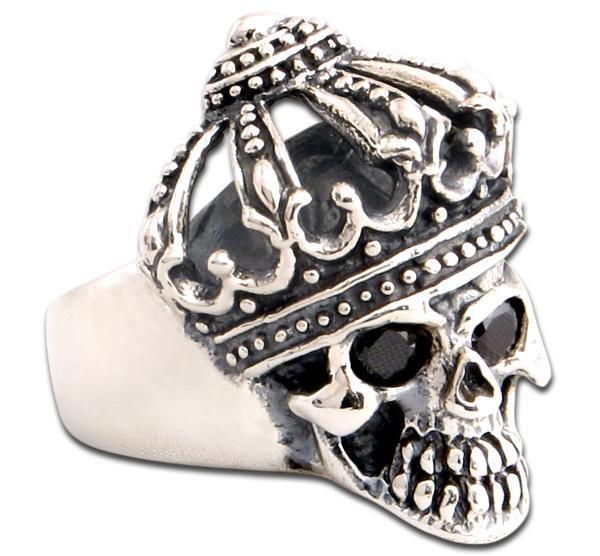 Skelettkönig - Skull Ring mit Krone