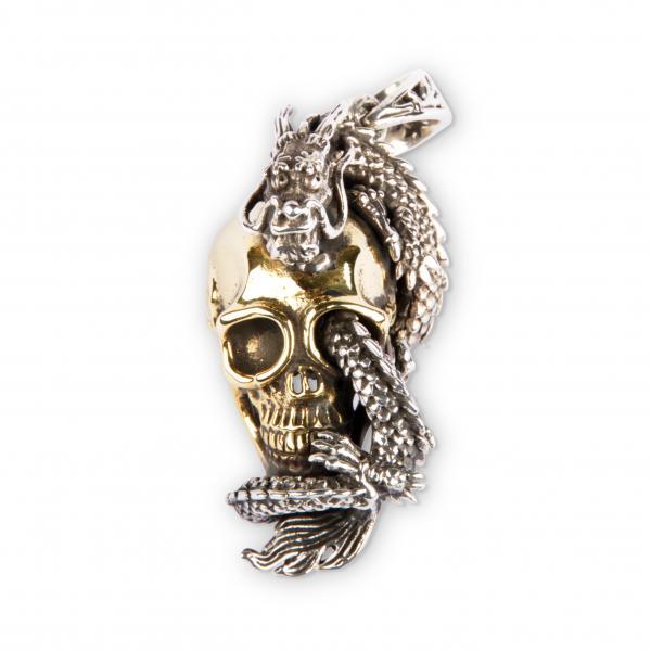 Totenkopf Anhänger Mit Glücksdrachen Aus Silber Und Messing