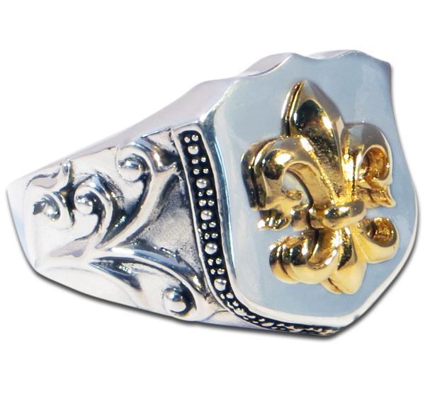 Mittlerer Fleur-de-Lis Ring, vergoldet