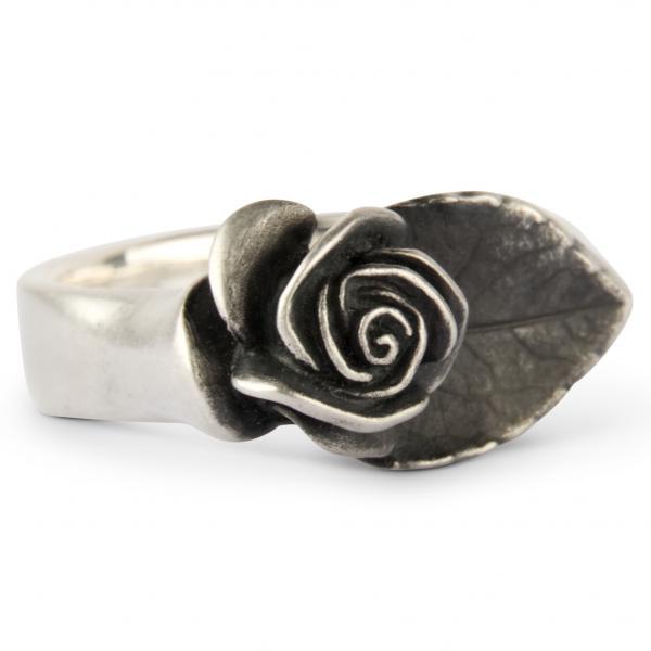 "Rosen Ring ""Carmen"" mit Blatt"