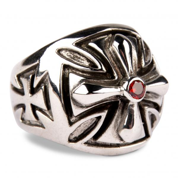 Templerkreuz-Ring mit Granatrotem Zirkonia