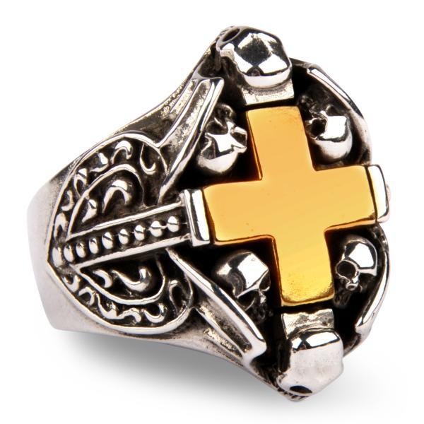Gothic Ring mit großem Messingkreuz