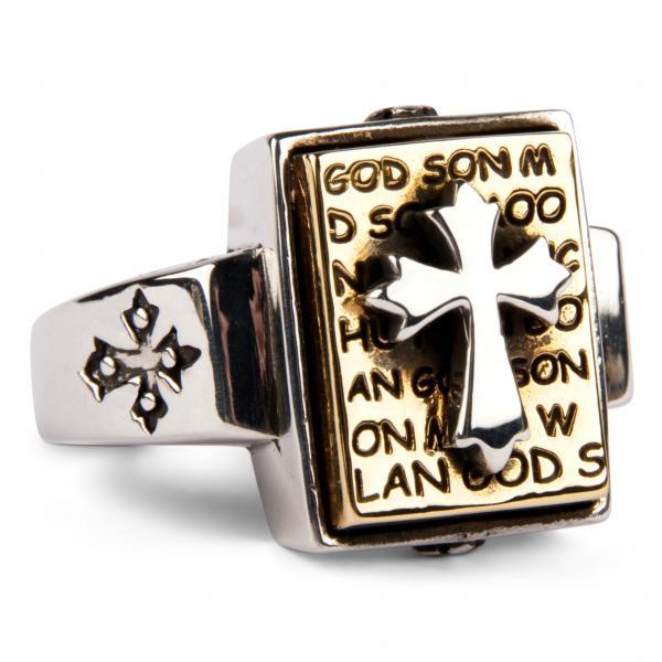 Ring mit Tempelritterkreuz auf goldener Bibel