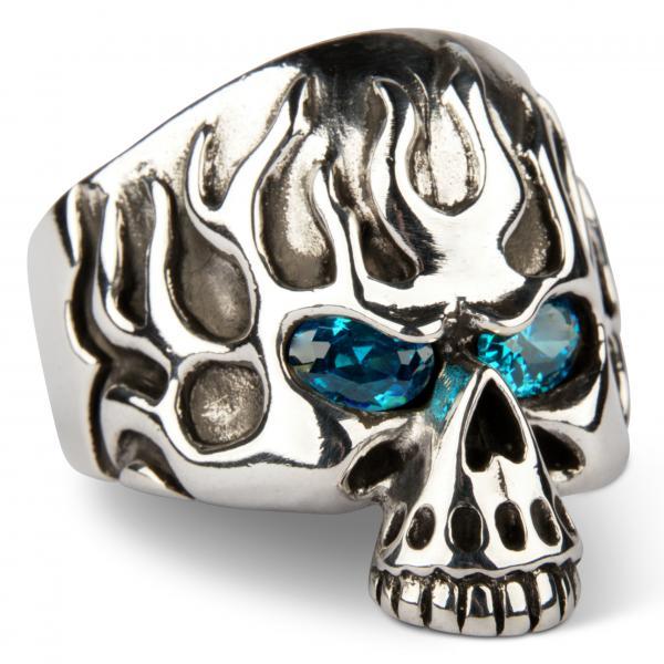 Schwerer Flammender Saphir-Augen Totenkopf Ring