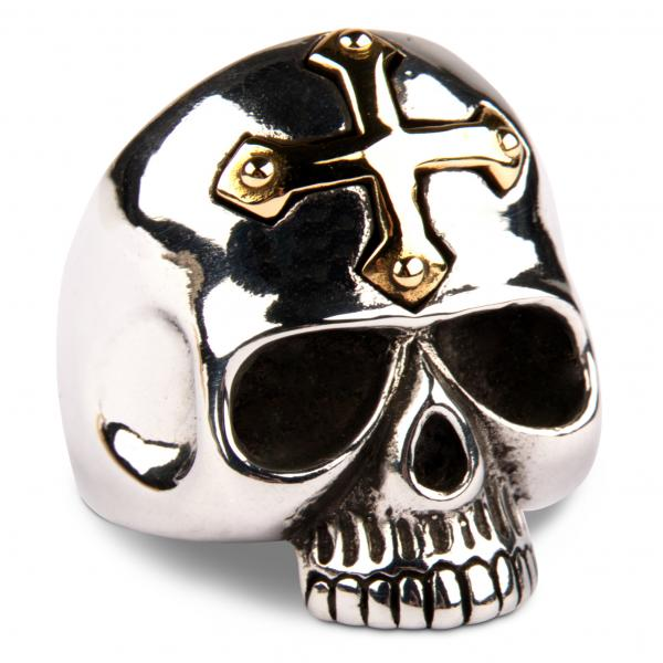 Gekreuzigter Totenkopf Ring mit goldenem Kreuz