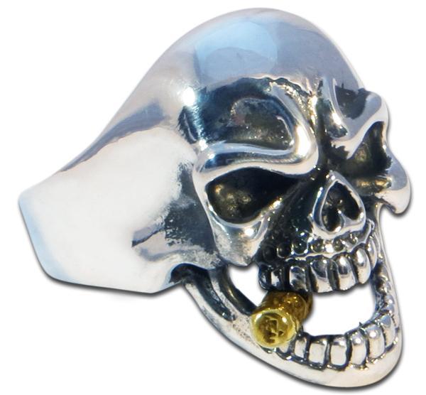 Mafia Totenkopf Ring mit goldener Zigarre