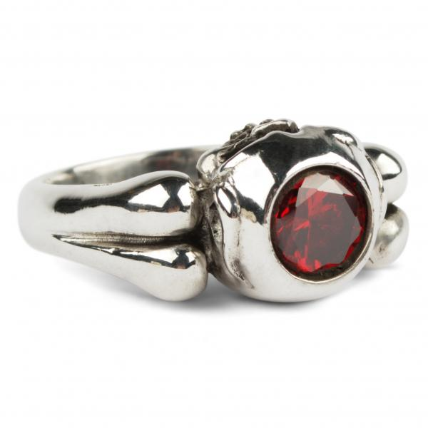 CZ Ruby Ring With Skull-Fitting