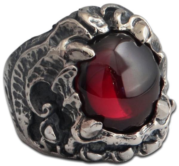 Stachelklaue - Ring mit blutrotem Kristall