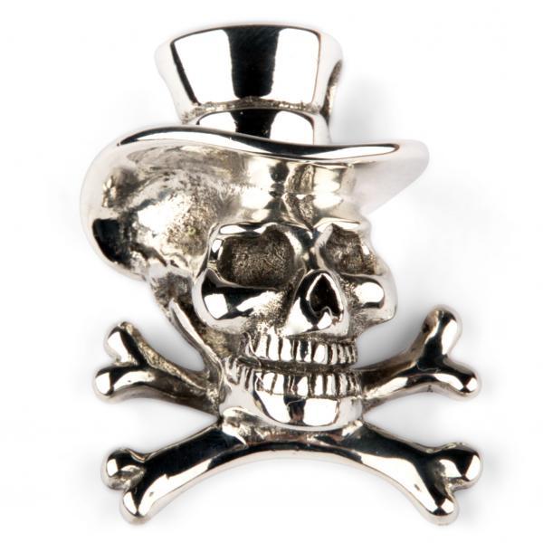 Totenkopfanhänger mit Zylinder und gekreuzten Knochen